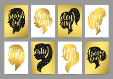 Set templates womens elegant silhouettes with different hairstyles and calligraphy Stock Photography
