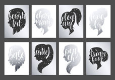 Set templates womens elegant silhouettes with different hairstyles and calligraphy Stock Photo