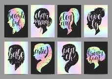 Set templates womens elegant silhouettes with different hairstyles and calligraphy Royalty Free Stock Photography