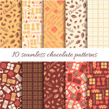 Set of ten abstract  chocolate seamless patterns Royalty Free Stock Image