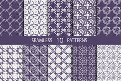 Set of ten abstract ornament pattern. Stock Photo