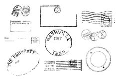 Set of ten antique vintage postal marks. Stock Image