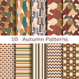 Set of ten autumn pattern Royalty Free Stock Image