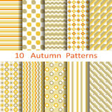 Set of ten autumn patterns Royalty Free Stock Image