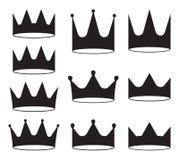 Set of ten black crowns for heraldry design on white background. Set of ten black crowns for heraldry design on white background Royalty Free Stock Images