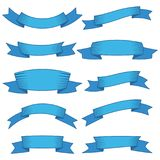 Set of ten blue ribbons and banners for web design. Great design element isolated on white background. Vector illustration Royalty Free Illustration
