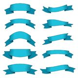 Set of ten blue ribbons and banners for web design. Great design element isolated on white background. Vector illustration Stock Illustration