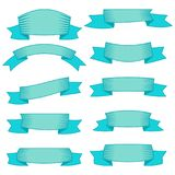Set of ten blue ribbons and banners for web design. Great design element isolated on white background. Vector illustration Stock Images