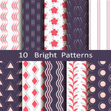 Set of ten bright patterns Royalty Free Stock Photography