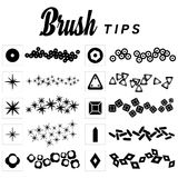 Set of ten Brush Tips and Brush Strokes Royalty Free Stock Photo