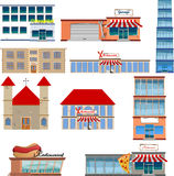Set of ten buildings Royalty Free Stock Photography