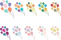 A set of ten bundles of multi colored balloons on. Vector. royalty free illustration