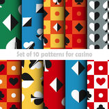 Set of ten card game vector seamless patterns Stock Image