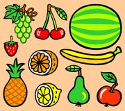 Set of ten cartoon fruit -  illustration Stock Image