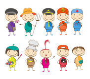 Set of ten children with different professions Royalty Free Stock Image