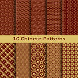 Set of ten chinese patterns Stock Images