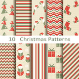 Set of ten Christmas patterns Royalty Free Stock Image