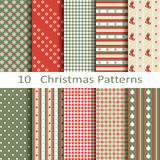Set of ten Christmas patterns Stock Photo