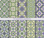 Set of ten classic seamless patterns in shades of blue and green. Decorative and design elements for textile, book covers, manufacturing, wallpapers, print Stock Photography