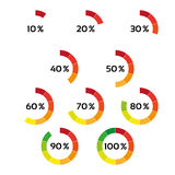 Set of ten color percentage indicators. Isolated on a white background, vector circle diagram with ten steps from 10 to 100 %, progress indicator for you Stock Images