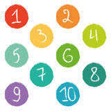 Set of ten colorful numerical circles Stock Photo