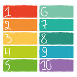 Set of ten colorful numerical rectangles Royalty Free Stock Images