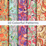 Set of ten colorful patterns Royalty Free Stock Photo