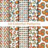 Set of ten colorful patterns Stock Photos