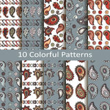 Set of ten colorful patterns Stock Image