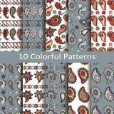 Set of ten colorful patterns. Vector set of ten colorful patterns vector illustration