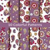Set of ten colorful patterns Royalty Free Stock Image