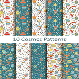 Set of ten cosmos patterns Stock Photos