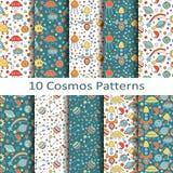 Set of ten cosmos patterns. Set of ten vector cosmos patterns Stock Photos