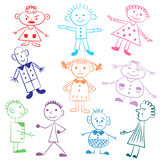 Set of ten cute kids.Colorful  Funny children drawings. Sketch style. Vector illustration Royalty Free Stock Image