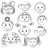 Set of ten cute kids. Funny children drawings of faces. Sketch style stock illustration