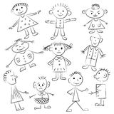 Set of ten cute kids. Funny children drawings. Sketch style royalty free illustration