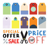 Set of ten different blank price or gift tags. Scissors icon wit Stock Image