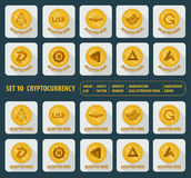 Set of ten different cryptocurrency icons on a light background Stock Image