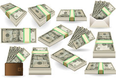 Set of Ten Dollars Banknotes. Detailed illustration of a Set of Ten Dollars Banknotes in various positions Royalty Free Stock Photo