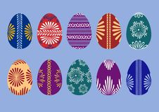 Set of ten Easter eggs Stock Photography