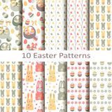 Set of ten easter patterns Royalty Free Stock Photography