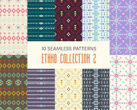 Set of ten ethnic seamless patterns. stock illustration