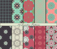 Set of ten floral seamless patterns with mandalas in beautiful colors. Vector background Stock Image