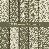 Set of ten flower  patterns Stock Photo