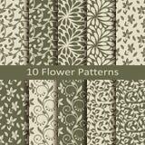 Set of ten flower  patterns Stock Photo