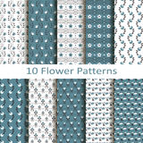 Set of ten flower  patterns Royalty Free Stock Photography