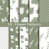 Set of ten flower patterns Royalty Free Stock Photos