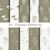Set of ten flower patterns Royalty Free Stock Image