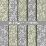 Set of ten flower patterns Stock Image