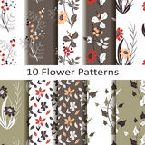 Set of ten flower  patterns Royalty Free Stock Images